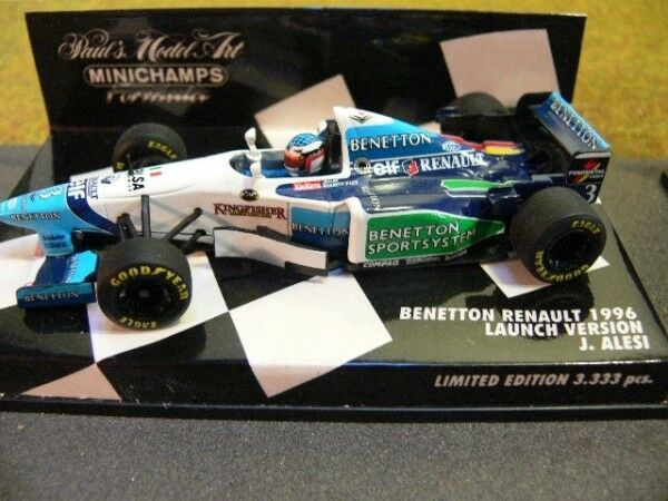 1 43 Minichamps F1 Benetton Renault 1996 Launch Version Alesi