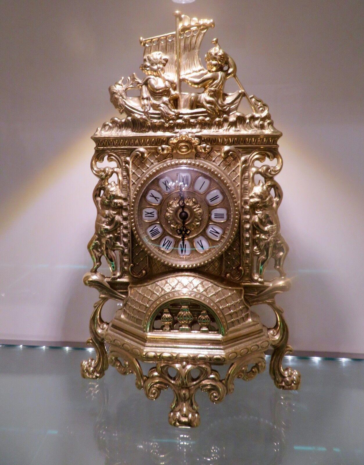 Horloge de Cheminée Laiton Table Antique Baroque or 42CM Massif