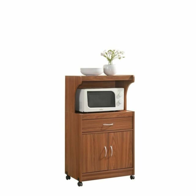 Kitchen Storage Carts Wooden Cherry Finish Rolling Microwave Toaster Oven  Cart