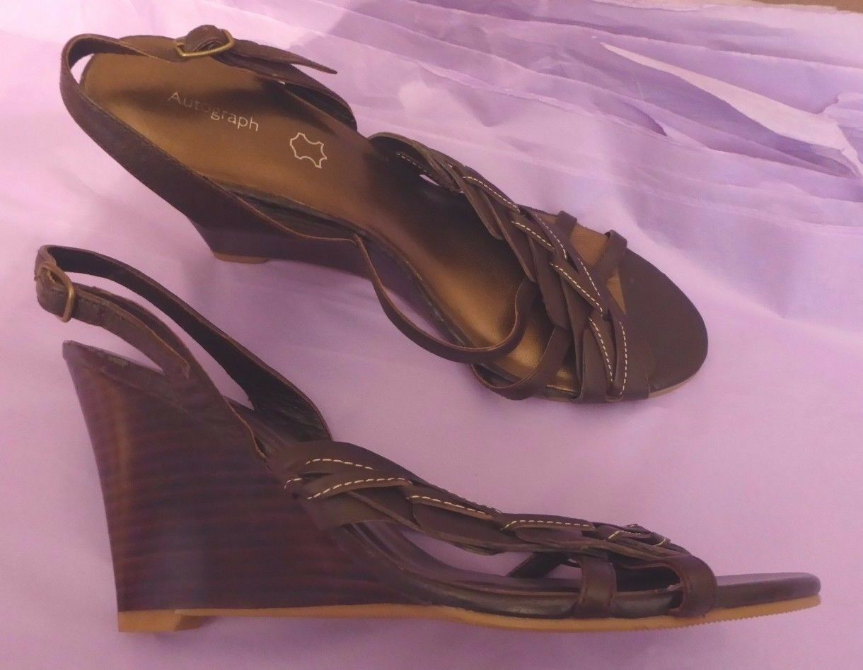 Marks leather & Spencer Autograph UK6 EU39.5 US8 brown leather Marks sandals - little wear 1b73e4