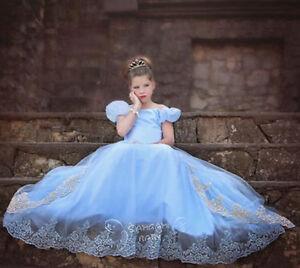 b00bb25d01 Princess Girls Kids Blue Fancy Dress Cosplay Costume Party Prom Ball ...