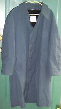 Men's Vtg LONDON FOG Fur Lined Blue Rain Over Coat Trench size 44 long USED