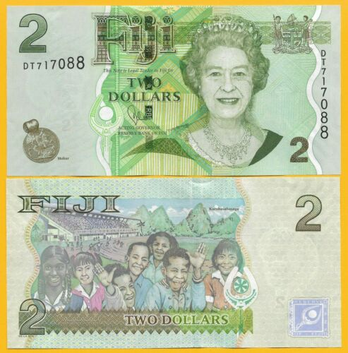 Fiji 2 Dollars p-109b 2011 UNC Banknote