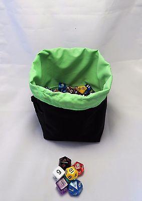 Analitico Green Dadi Bag-tile Sacchetto-nero Reversibile Cotone Non Associate D&d Rpg Games-