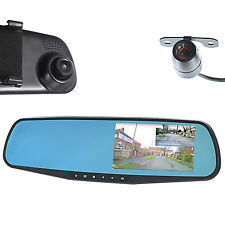 "GOSO Front & Rear Dash Camera Dual Lens Rearview Mirror Cam 4.3"" HD LCD Screen"