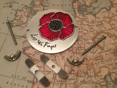 Lest We Forget Red Poppy Grille Car Badge British Legion ALUM 2