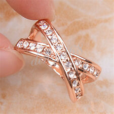 18K Rose Gold Filled See-through Cross White Crystal Pavement Ring Jewelry Z1219