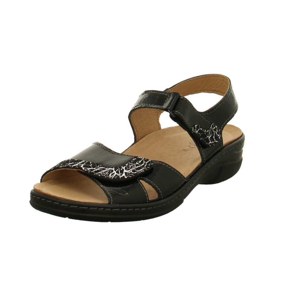 Longo Damen 1020108 Schwarze Lackleder Sandalette