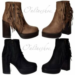 Womens Ladies Black Faux Suede High Heel Fringe Shoes Ankle Boots Size UK 7 New