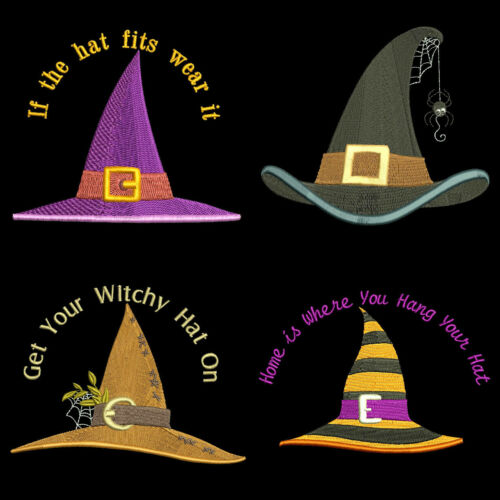10 Machine Embroidery Designs CD FREE SHIPPING 4 inch WITCH HATS