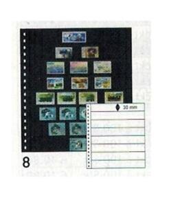 10 Lindner 08P Omnia Stock Sheets Black 2x 8 Stripes Bags 245x30 mm
