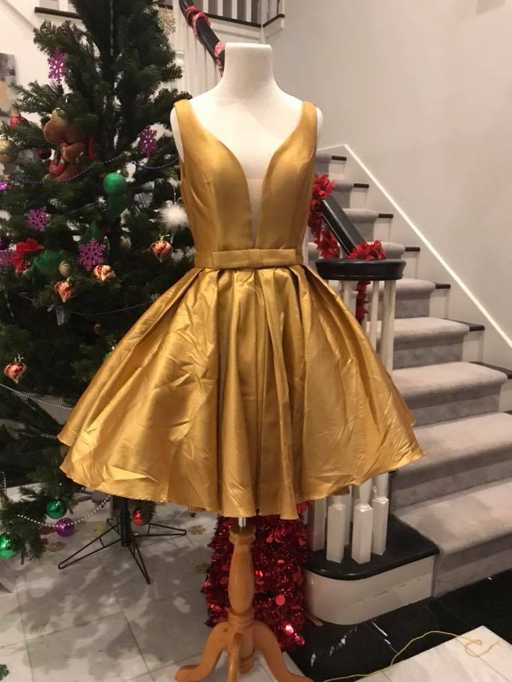 Größe 6 in stock Sexy Gold Short Prom Dress Homecoming Dress Cocktail