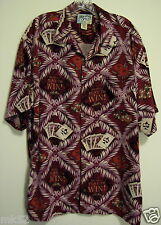 Big Dogs L Maroon Play To  Win Hawaiian Full House Poker Chips Camp Button Shirt