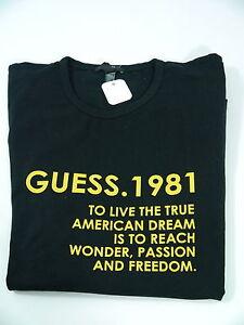 Guess-Hr-Langarm-Shirt-T-Shirt-Frontprint-gelb-schwarz-Gr-XXL-BWStretch-NEU