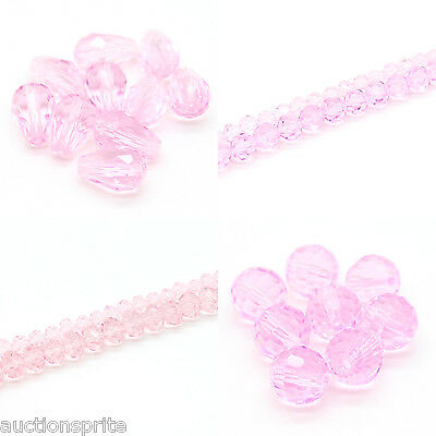 AAA Faceted Crystal Beads Choose Color and Style: Drop, Disco, Rondelle, Round
