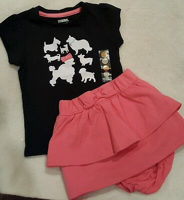 Gymboree POSH AND PLAYFUL 2PC SET Poodle & Dogs Top & Pink Bow Skort 12-18 m NWT