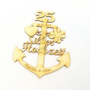 Silber-Hochzeit-Anker-aus-Holz-25-Jahre-mit-Gravur-Personalisiert-Geschenk