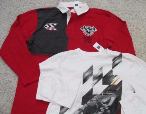 NWT 14 16 XXL Gap Kids Race Car Polo Long Sleeve Shirt Red Black White