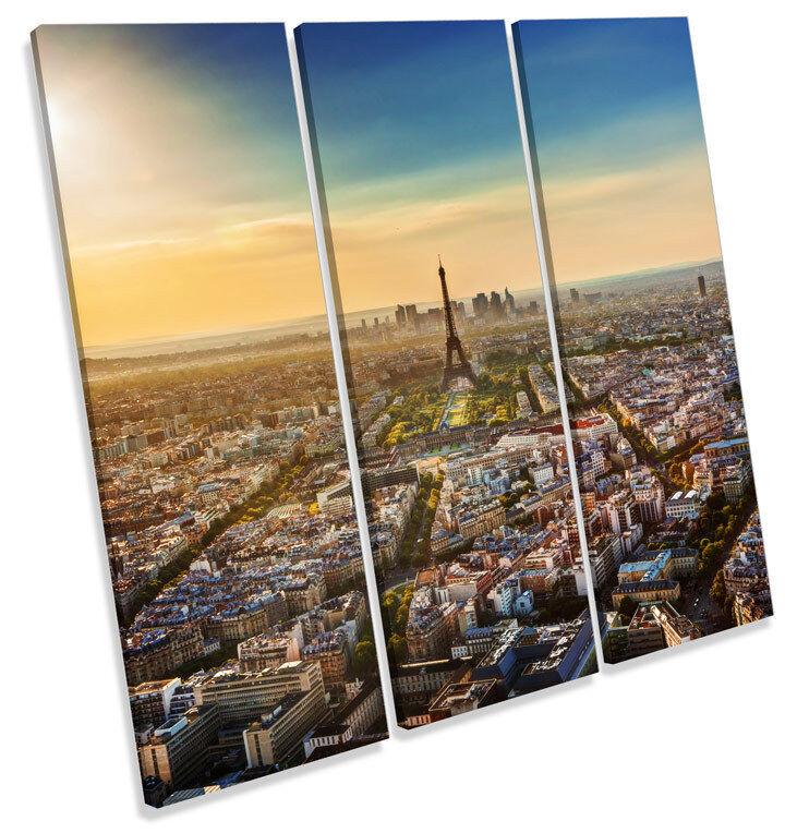Eiffel Tower Sunset Paris City TREBLE CANVAS WALL ART Square Print Picture