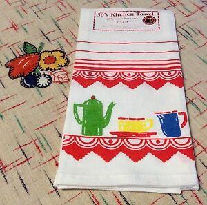 Retro Vintage Style Cotton Flour Sack 50's Kitchen Towels with Deco Kitchen