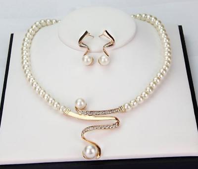 Elegant Wedding Bridal Jewelry Rhinestone Pearls Necklace Earring