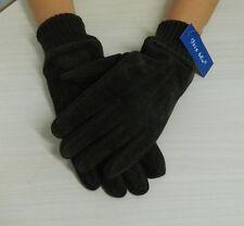 Guanti IRIS BLU in camoscio marrone con elastico interno in pile OMA06
