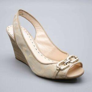 Coach Ladies 9 B Cynthia Wedge Peep-toe Signature C Sandals Slingback Heels