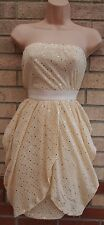 SOUTH CREAM MESH LYCRA BANDEAU GOLD SEQUIN BEADED DRAPE PARACHUTE DRESS 14 L