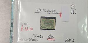 NEWFOUNDLAND-YELLOW-GREEN-2C-SEAL-STAMP-G-U