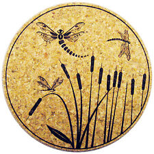 """XL Coasters Dragonfly & Cattail design (9"""") Coaster that doesn't stick or drip"""