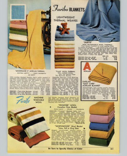 1970 PAPER AD Faribo Frontier Canadian Wool Blanket Strips