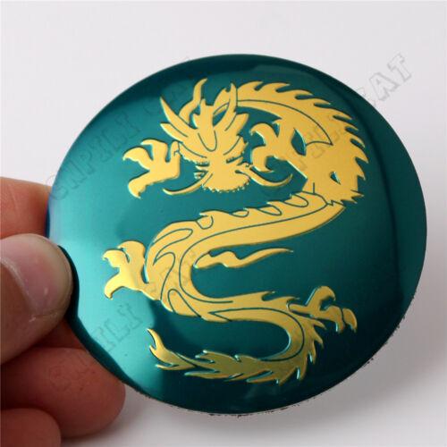 4x 3D Gold Dragon Style Car Steering Wheel Center Hub Cap Emblem Stickers 56.5mm
