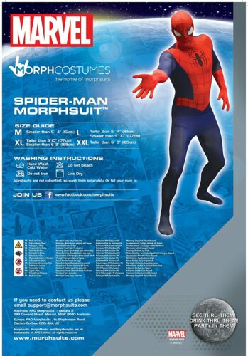 "size Large Official Spiderman Basic Morphsuit Fancy Dress Costume 5/'4/""-5/'10/"""