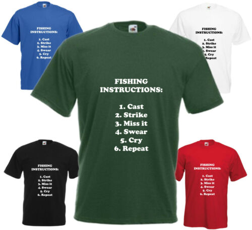 Fishing Instructions T-Shirt Funny Fishing Birthday Gift Mens Womens Top Present