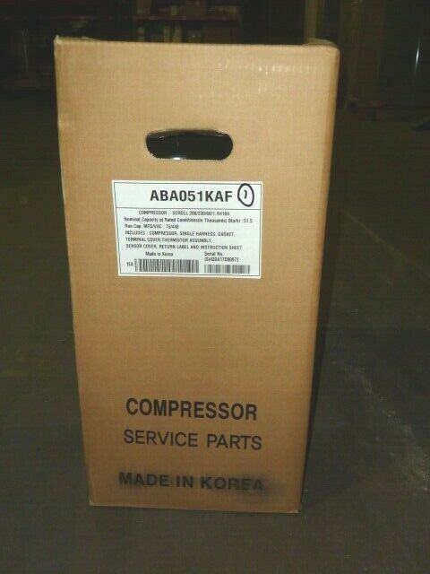 LG AC ABA051KAF Compressor 208-230v 1 Phase LRA 125 R410a Plugged