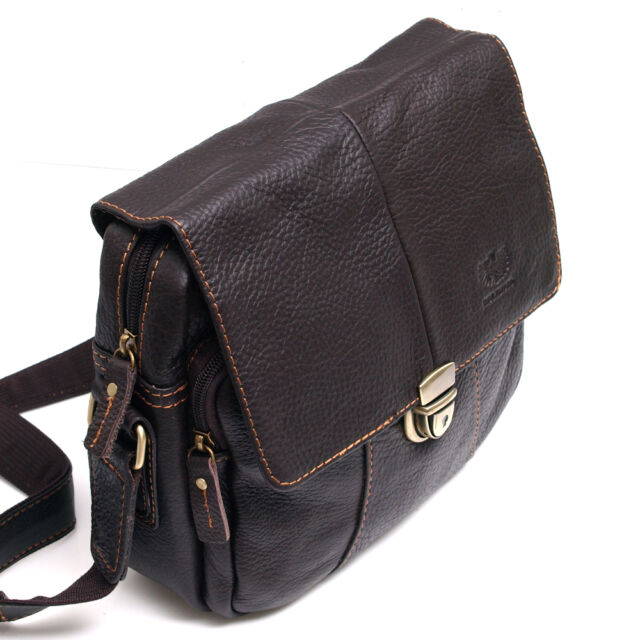 Vintage Style Men's Women's Genuine Leather Messenger Shoulder Bag Satchel-0977