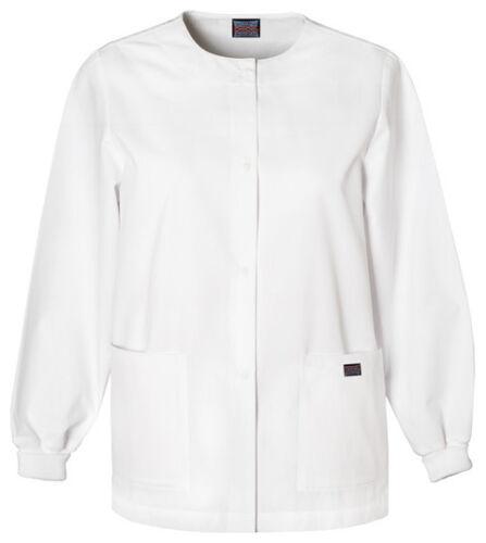 White Cherokee Workwear Snap Front Warm Up Scrub Jacket 4350 WHTW