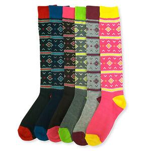 6 Pairs Women Comfort Socks Lot Long Lady Argyle Fashion Crew Stylish Pack