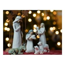 """*Postcard-""""Christmas-""""Nativity Statues"""" w/Animals/Picture on Postcard (B-114)"""