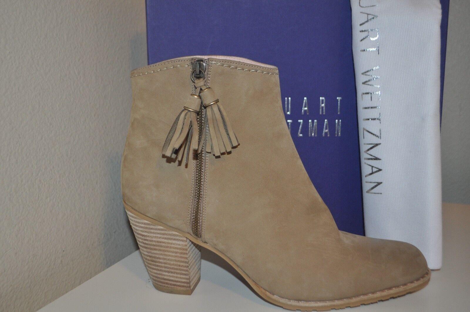 NIB Stuart Weitzman PRANCING Tassel Ankle Block Heel Boot Booties TAN NUBUC 10.5