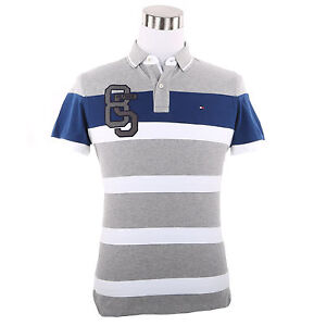 $0 Free Ship Tommy Hilfiger Women/'s Short Sleeve Stripped Pique Polo Shirt