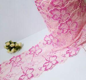 """Pink Flower Scallop Stretch Lace Trim 6-1//4/"""" 15.8 cm width L354"""