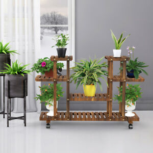 f4ef27a0047e Details about Wooden Corner Plant Stands Indoor Flower Stand Rack Shelf  Outdoor Patio Wheels