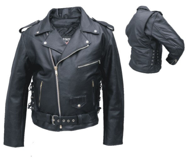 Mens Classic Black Leather Motorcycle Jacket w Side Lace / Zipout Liner