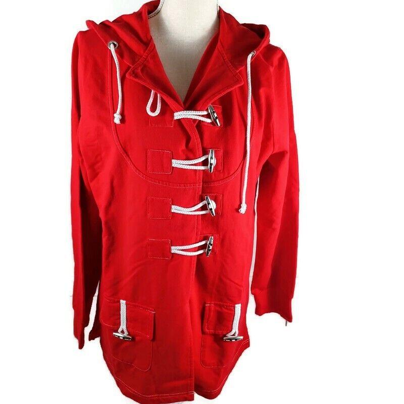 Vintage PBJ Sport Jacket Large Red & White Drawstring Hood -Pockets Cabincore