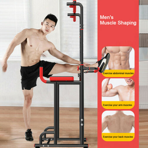Details about  /PowerDip Station Chin Up Bar Power Tower Pull Push Home Gym Fitness Core Sport H