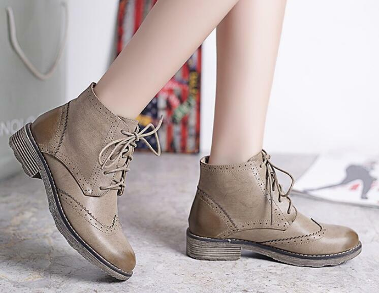 Womens British Brogues Oxford Loafer Lace Up Ankle Boots Flat Heel shoes Sz35-40