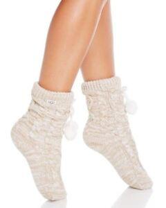 90e41541e1c Details about Womens Socks UGG Pom Pom Fleece Lined Crew Sock 1014837 Cream  *New*