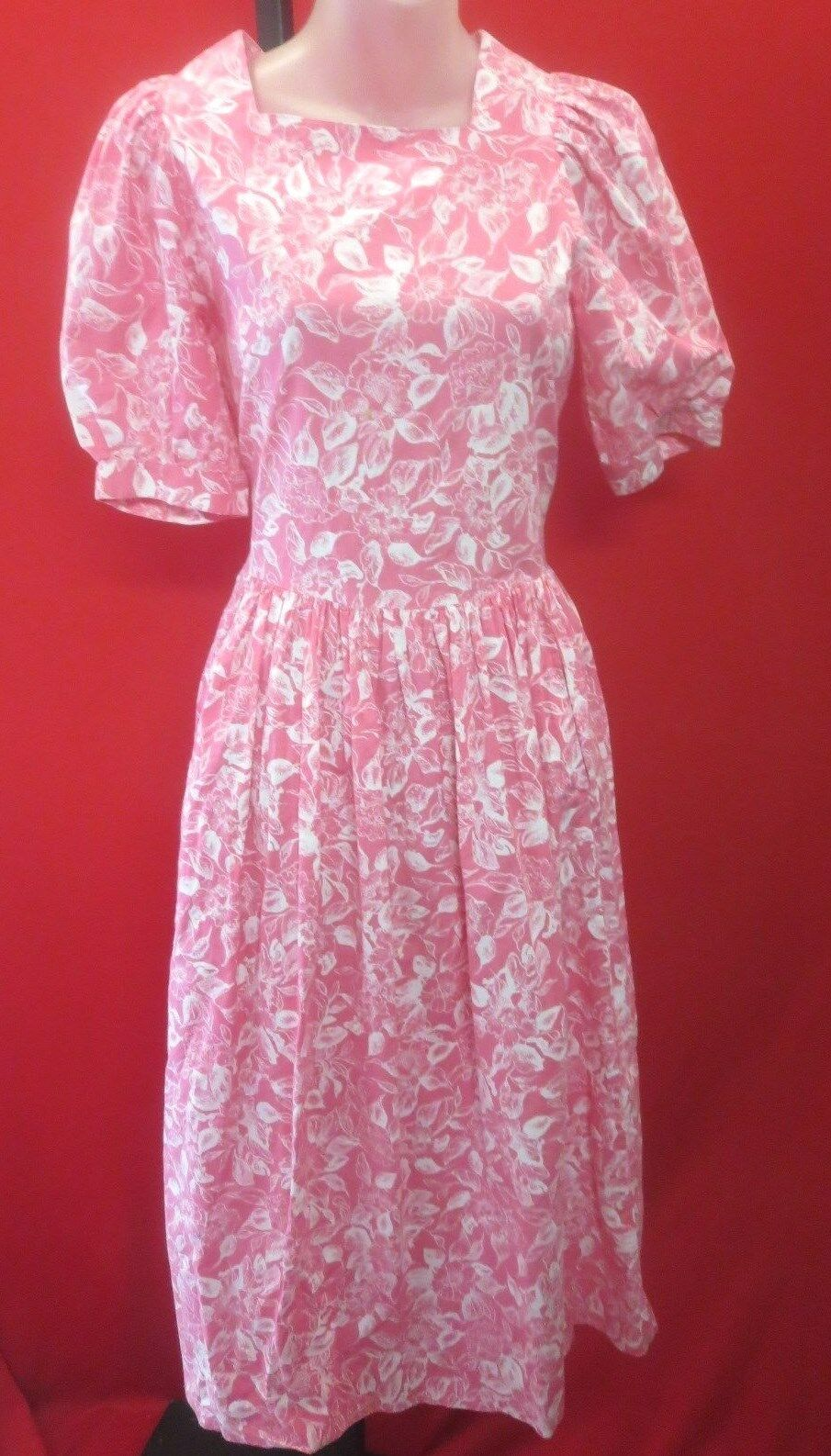 Vtg LAURA ASHLEY Pink White Floral Full Circle School Girl Peasant Dress Sz 10