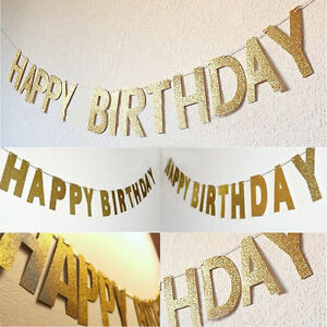 Papier-034-HAPPY-BIRTHDAY-034-Girlande-Geburtstag-Party-Bunting-Banner-Dekoration